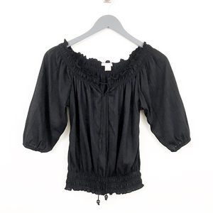 🌿SELF ESTEEM Black Ruffled Quarter Sleeve Boho T